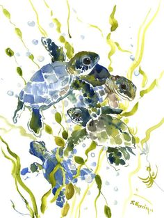 Sea Turtles, 16 X 12 in, olive green blue wall art by ORIGINALONLY on Etsy
