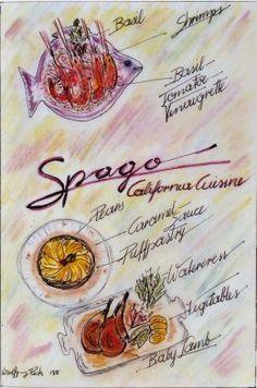 The original Spago menu, circa 1982, from the  Los Angeles Public Library Central Library menu collection!