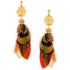 Gas Bijoux 'Sao' earrings ($113) ❤ liked on Polyvore featuring jewelry, earrings, gold, earring jewelry, feather jewelry, gas bijoux and feather earrings