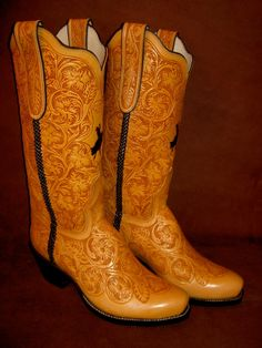 Tooled Boots by Ghost Rider Boots...not sure what's up with me, but I am so into western boots right now. Maybe just 'cause I miss Grampa Buck.