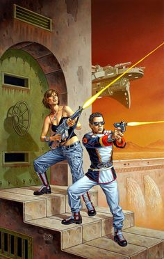Brothers in Arms / 2007 (Clyde Caldwell) Metal Art, Comic Art, Scifi Fantasy Art, Pulp Fiction, Sf Art, Sci Fi Fantasy, Art, 70s Sci Fi Art