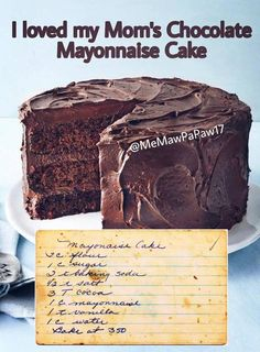 My Grandma Hazel used to make this and it was the BEST (as much as I hate mayonnaise). It's a tradition in our family still to make this cake. Sweet Recipes, Cake Recipes, Dessert Recipes, Köstliche Desserts, Delicious Desserts, Bolo Normal, Mayonaise Cake, Chocolate Mayonnaise Cake, How Sweet Eats