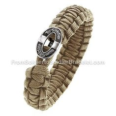 Soldier to Soldier Bracelet - $20 from each is donated to organizations caring for our wounded troops. They're made of tightly braided parachute cord, Soldiers give them to other soldiers as friendship bracelets & are said to save lives. The button clasp symbolizes the bond among soldiers that can never be broken, each knot symbolizes a fallen hero. Honor & support our troops, I will be buying one.
