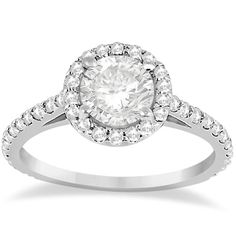 Halo Diamond Cathedral Engagement Ring Setting Platinum(0.64ct)-Allurez.com
