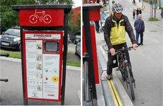 Now bike riders can travel up hills with ease thanks to the ingenious CycloCable elevator system in Trondheim – Norway's unofficial bike capital (Trondheim, Norway).