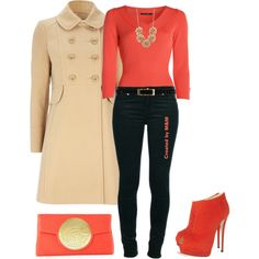 Coral, Black, and Cream, created by marion-fashionista-diva-miller on Polyvore