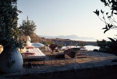Greek vacation home of Jasper Conran via The Wall Street Journal (photography by Magnus Mårding) Jasper Conran, Wall Street, Outdoor Spaces, Outdoor Living, Outdoor Decor, Outdoor Seating, Indoor Outdoor, Greece Photography, Construction