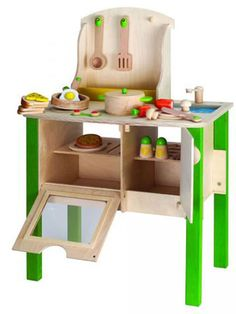 50 Gifts Under $50: We love this play kitchen -- includes all the food! and in a gender-neutral green color. Boys cook too! $117