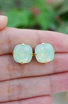 Chrysolite Swarovski Crystal Estate Style Ear Studs from EarringsNation Mint + Gold Weddings Mint Weddings Mint and gold weddings Bridesmaid Gifts