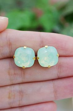 Chrysolite Swarovski Crystal Estate Style Ear Studs from EarringsNation Mint + Gold Weddings Mint Weddings Mint and gold weddings Bridesmaid Gifts