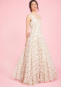 A Matter of Magnificence Maxi Dress. An unforgettable occasion calls for an ensemble just as memorable, and every elegant detail of this ivory gown is up to the task. #pink #prom #wedding #bridesmaid #modcloth