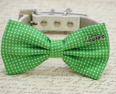 Green Dog Bow Tie with Charm, birthday gift, Love, Pet accessory, Pet bow, Dog lovers, Polka dots bow, Gift, Dog Lovers, Love