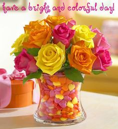 Carnival Wedding Centerpiece ideas : wedding Colorful Roses In Candy Vase 1 by turquoise queen Do It Yourself Decoration, Carnival Wedding, Wedding Candy, Bridal Shower Centerpieces, Colorful Roses, Colorful Candy, Bright Flowers, 800 Flowers, Rose Flowers
