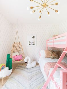 Pink Palm-springs inspired bedroom with pink bunk beds, brass chandelier, and a faux cactus Little Boy Bedroom Ideas, Bunk Beds For Girls Room, Kids Bunk Beds, Teen Girl Bedrooms, Teen Bedroom, Modern Bunk Beds, Cool Bunk Beds, Classic Dressers, Floor To Ceiling Bookshelves