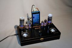 Tube / Steampunk styled MP3/ Ipod Stereo System. $182.00, via Etsy.
