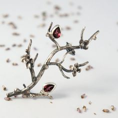 Tree branch brooch with flowers and rhodolite garnet - sterling silver brooch with garnet gemstones - spring twig jewelry - nature jewelry on Etsy, $110.40