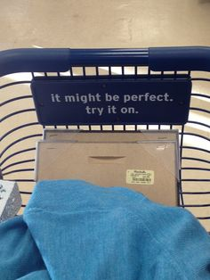 If you have shopping carts in-store, why not brand them? This in-cart signage could help a customer make a sometimes difficult decision... to try on or not to try on? Trying on can lead to greater sales. #Retail #Signage