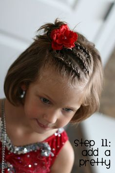 Three dutch braids into a messy bun.  Cute little girl's hairstyle for short or long hair. Good style when growing out bangs.