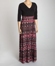 Another great find on #zulily! Black & Berry Ikat Tie-Waist Maxi Dress - Plus #zulilyfinds