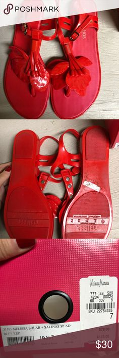 MELISSA sandals Jelly sandals by Melissa. Gorgeous red color and they smell like bubblegum! Bought from Last Call, only tried them on in the House. There's some sand on the bottom of the shoe but that can be wiped off Melissa Shoes Sandals