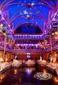 Star Inspired Wedding Lighting in a Grand Ballroom