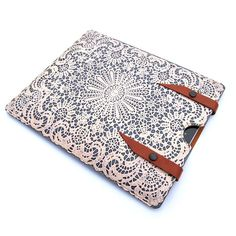Leather New iPad case Pebble Grey white lace design by tovicorrie, $95.00
