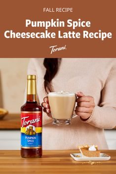 This latte is the perfect combination of pumpkin spice and cheesecake flavor. This pumpkin spice cheesecake latte recipe is made with Torani syrup. Grab our full latte recipe here! Pumpkin Drinks, Pumpkin Smoothie, Pumpkin Dessert, Pumpkin Recipes, Sugar Free Pumpkin Pie, Pumpkin Spice Syrup, Fall Dessert Recipes, Fall Recipes, Torani Syrup