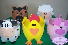 Moderne Kunst: Nutztiere in der Haustierflasche Modern Art: Farm Animals in the Pet Bottle, Bottle Animals Farm Animal Party, Farm Animal Birthday, Farm Birthday, Farm Party, Kids Crafts, Animal Crafts For Kids, Craft Projects, Diy And Crafts, Plastic Bottle Crafts