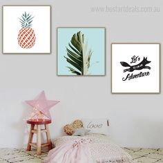 Abstract pineapple fruit and banana arbor leaf nordic framed artwork for sale at flat 30% discount. Offer available only as long as stocks last! #wallartset #artistgallery #stylinginspiration #artgoals 3 Piece Canvas Art, Canvas Art Prints, Wall Art Sets, Wall Art Decor, Online Art Store, Botanical Wall Art, Artist Gallery, Free Prints, Framed Artwork