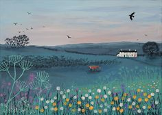 Print of English country meadow at dusk with fox and white cottages from an original acrylic painting 'Across Dusky Meadow' by Jo Grundy. A limited edition of it comes signed with a certificate of authenticity. Mural Art, Landscape Paintings, Landscape Art, Landscapes, Original Paintings, Images, Art Prints, Large Canvas Prints, Fine Art