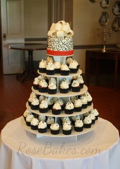 Red, Black and White Wedding Cake and Cupcake Tower