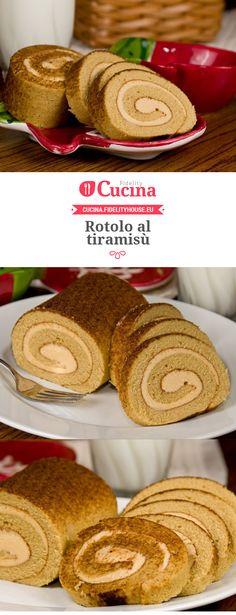 Rotolo al tiramisù (tiramisu crepe cake) Cake Roll Recipes, Sweets Recipes, Cooking Recipes, Swiss Roll Cakes, Torte Cake, Sweet Cakes, Different Recipes, International Recipes, Tiramisu