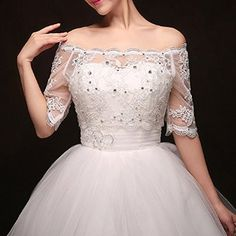 Wedtrend Women's Lace Off Shoulder Wedding Wrap with Applique Rhinestone