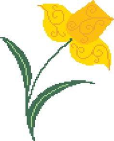 Naive daffodil cross stitch. A simple and effective interpretation of the Welsh national flower, this pattern is very delicate and will look lovely anywhere you choose to display it. Modern cross stitch chart by crossstitchtheline
