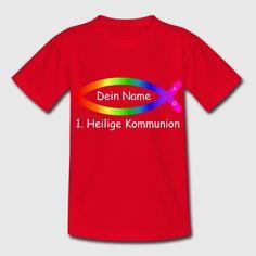 Fisch ICHTHYS Regenbogen T-Shirts - Teenager. Ersetze den Namen. Zur 1. Heiligen Kommunion.