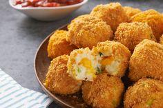 Crunchy, popable potato balls with an ooey gooey, cheesy center. Seriously. As if game day isn't enough fun already.