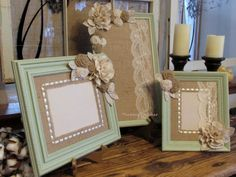 Wooden Frames Sage Green Frames Distressed by ThrownTogether