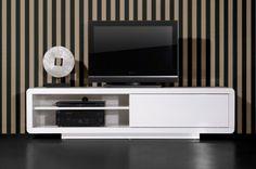 MEGA TV-Lowboard Weiß 1 Schiebetür, 180x45x45 cm