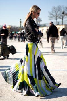 flowy skirt biker jacket, i love this look find more women fashion on www.misspool.com