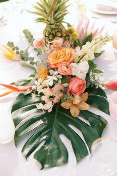 Aisle Perfect - tropical wedding table flower centerpiece - Anna Kim Photography