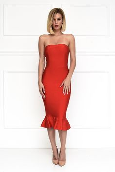 Front of red strapless bodycon midi bandage dress with subtle sweetheart neckline and fluted hem