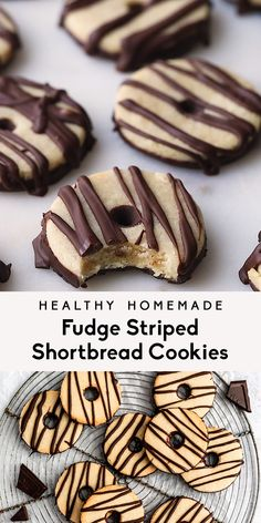 Homemade fudge striped shortbread cookies just like the fudge stripes cookies you grew up on! This healthy version has a gluten free almond flour shortbread cookie base with a delicious chocolate dip Brownie Desserts, Köstliche Desserts, Healthy Dessert Recipes, Delicious Desserts, Healthy Foods, Vegan Cookie Recipes, Healthy Fudge, Healthy Homemade Snacks, Impressive Desserts