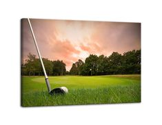 9e6f3bc666e AMEMNY Wall Decor for Living Rooms Golf Club Painting Sunset Landscape Painting  Canvas Art Home Decor