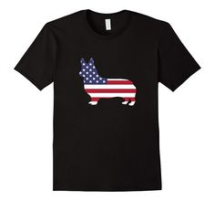 Men's Corgi Dog American Flag 4th Of July Patriotic T-shirt Gift  2XL Black