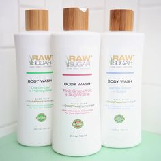 """Kepp the """"good stuff in"""" through Raw Sugar Cold-Pressed Technology,, extracting vitamins and minerals from fruits and vegetables essential for skin health from head to toe. The Body Wash is infused with organic extracts, is eco-friendly, cruelty free, paraben-free, and sulfate-free."""