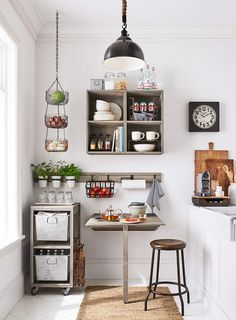 A gorgeous small kitchen with home decor from Pottery Barn Apartment. #PBApartment
