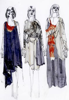 Thomas Brookes recently showed his collection at Graduate Fashion Week in London. Textiles Sketchbook, Fashion Design Sketchbook, Fashion Design Portfolio, Art Sketchbook, Illustration Mode, Fashion Illustration Sketches, Fashion Sketches, Silhouette Mode, Fashion Figures