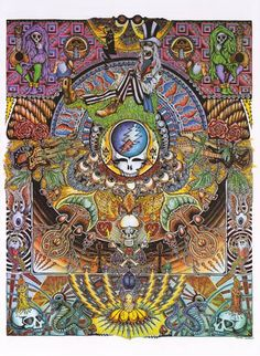 An awesome Grateful Dead poster with a totally far-out psychedelic mandala…
