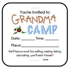 Free printables for holding a grandma camp. Check it out!