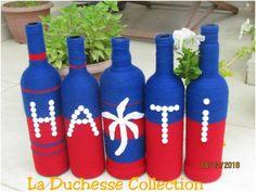 Un set de 5 bouteilles décoratives avec les couleurs de notre bicolore. Ce modèle représente le drapeau haïtien. Haiti, Photo And Video, Instagram, Decor, Beauty, Haitian Flag, Decorative Bottles, Bicolor Cat, Colors